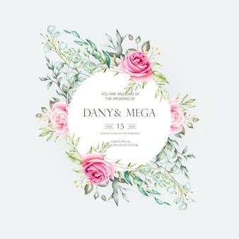 Красивая свадебная открытка с цветочной акварелью и листьями