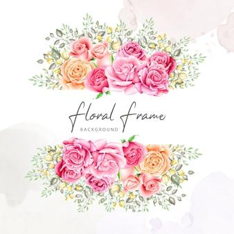 花の花束フレーム水彩画コレクション