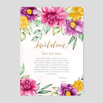 花柄のデザインの結婚式の招待カード