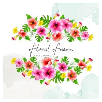 Элегантная цветочная рамка с акварельными цветами