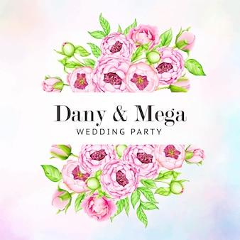 Шаблон свадебного приглашения с цветами акварель пион