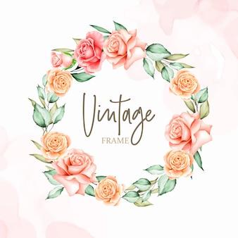 水彩画の花のテンプレートと花輪の招待カード