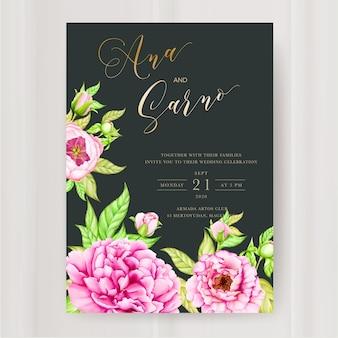 水彩牡丹の花の結婚式の招待状のテンプレート