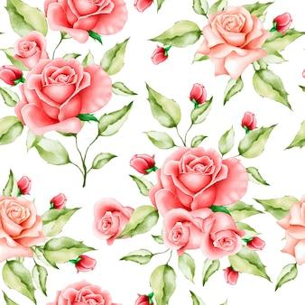 Акварель цветочные и листья бесшовные модели