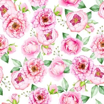 美しい水彩画シームレスな花柄