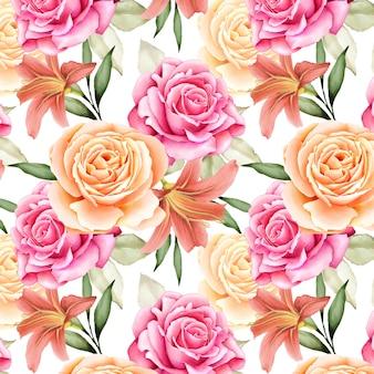 美しい水彩画の花と葉のシームレスパターン