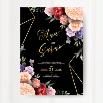 水彩の花の葉と暗い結婚式招待状のテンプレート