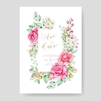 結婚式の招待カードテンプレート、水彩画の花柄のデザイン