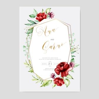 結婚式の招待カードテンプレート、水彩画の花のフレーム