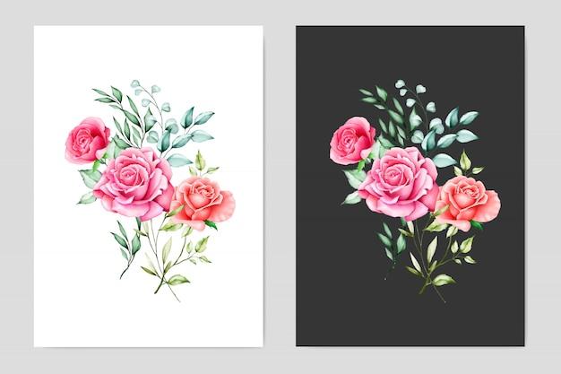 Акварельные свадебные открытки с цветочной рамкой