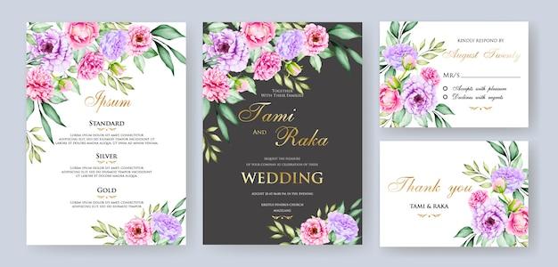 Акварель цветочные и листья свадебные карточки шаблон