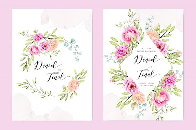 Свадебное приглашение с красочными цветами и листьями