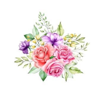 花柄のデザインのブーケ結婚式カードテンプレート