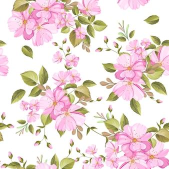美しい花柄と葉のシームレスパターン
