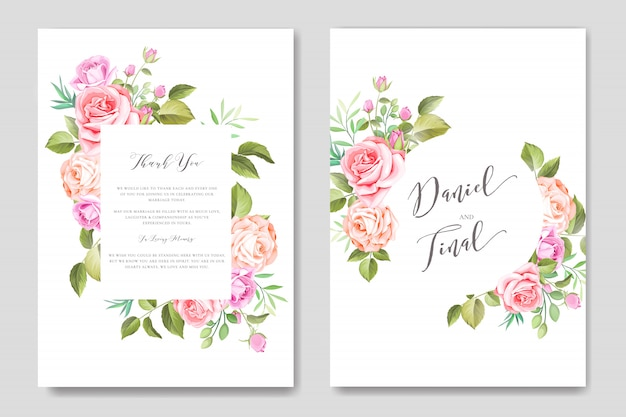 Элегантная акварель цветочные и листья свадебные карточки шаблон