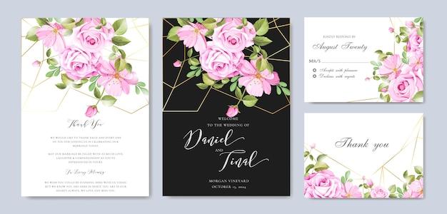 美しい花と葉のフレームと結婚式の背景テンプレート