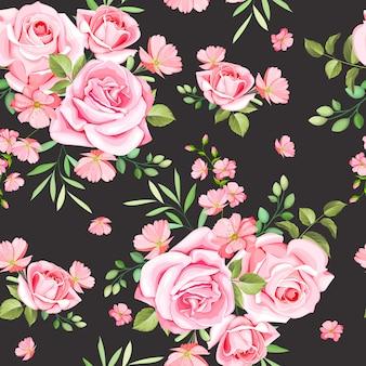 エレガントなバラと葉のシームレスパターン
