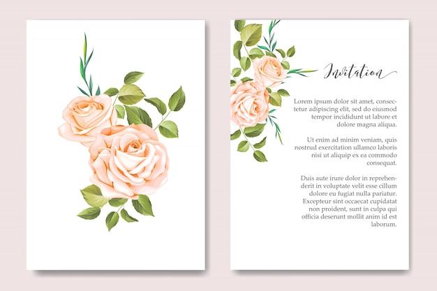 花の花輪を持つ花の結婚式の招待カードテンプレート