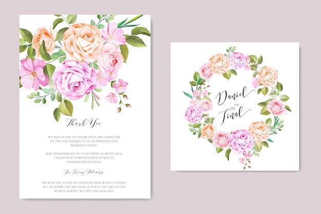 Цветочный шаблон свадебного приглашения с цветочным венком