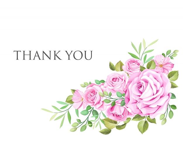 花と葉の花輪を持つ結婚式の招待カード