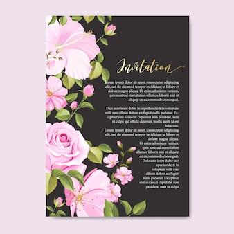 花と葉の美しい結婚式のカード