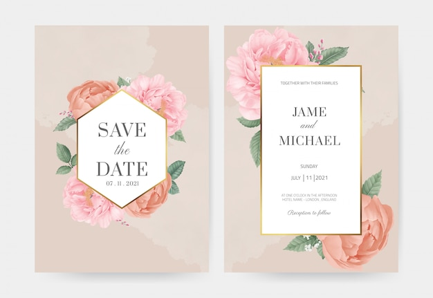 ピンクの牡丹の結婚式の招待状は、カードを設定します。ゴールデンフレームで日付を保存します。バラの葉。グリーティングカード水彩画テンプレート。