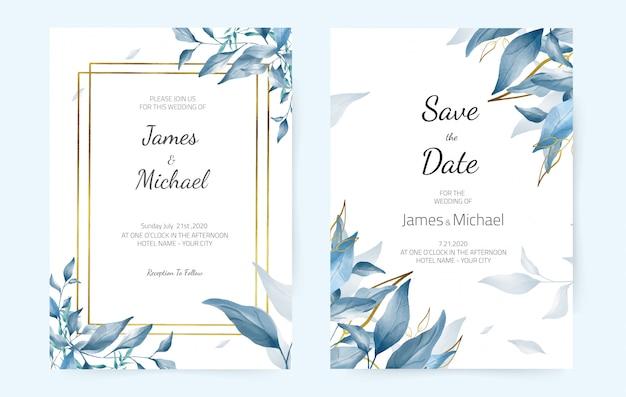 結婚式の招待カード青い葉、ネイビーの水彩画、モダンなデザイン。装飾的なグリーティングカード