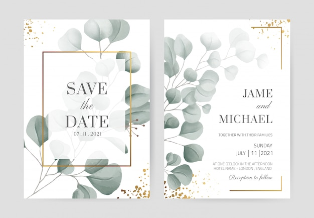 ゴールドパウダーとゴールドフレームの水彩のユーカリの結婚式の招待カード美しい白いカードの背景。カードテンプレートを設定します。