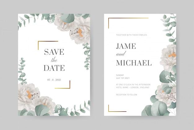 ゴールドフレームの水彩画の白い牡丹結婚式の招待カード。ユーカリの葉。美しいデザインのグリーティングカード。カードテンプレートを設定します。