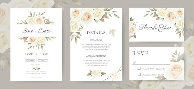 Свадебное приглашение. винтажный стиль белых роз коричневые листья эвкалипта. набор шаблонов карт.