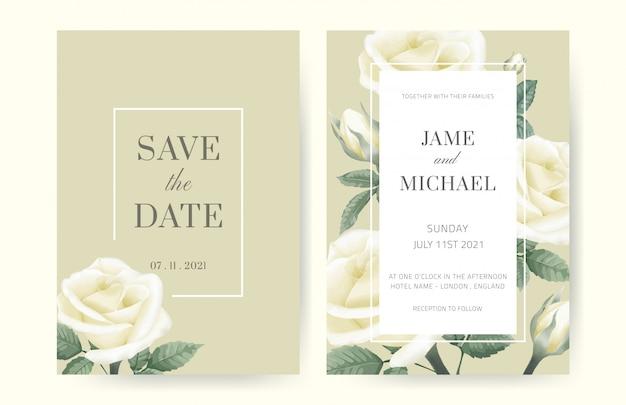 Белая роза свадебные приглашения минималистский стиль. белая рамка отделана розами. набор свадебных открыток.