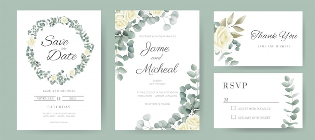 Свадебное приглашение. обручальное кольцо из белых роз и листьев эвкалипта. набор шаблонов карт.