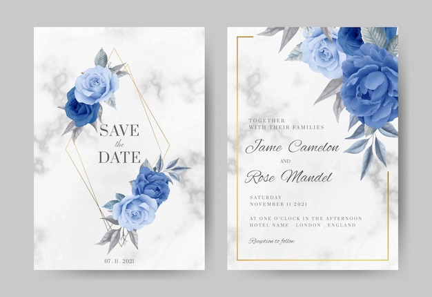 結婚式の招待カードセット。バラ、ペオニーブルー、ネイビー、大理石の背景、ゴールドフレーム。