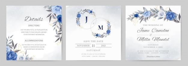 ブルーネイビーの結婚式の招待状のテンプレート。金の葉とサークルのバラの花の水彩画。