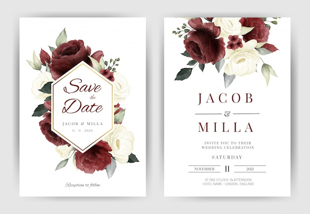Свадебный пригласительный шаблон с букетом цветов белой и красной розы, акварель, золотая рамка