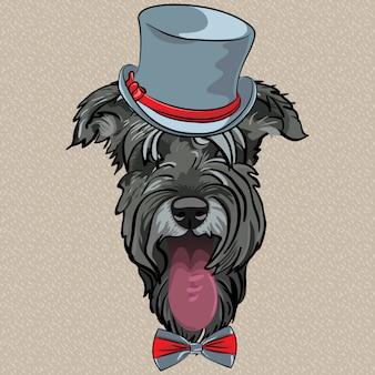Вектор смешной мультфильм битник собака шнауцер