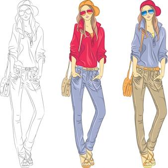 メガネの美しいファッションの女の子のトップモデル