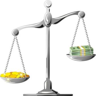 Несбалансированная серебряная шкала с монетами и банкнотами