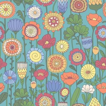 Бесшовный цветной цветочный узор