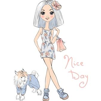 犬とかわいいファッションの女の子