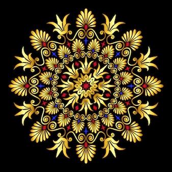Традиционный винтажный золотой и красный круг греческий орнамент
