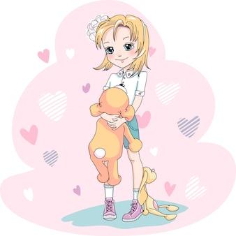 Вектор милая девочка блондинка в платье и кроссовки с сумкой и игрушками