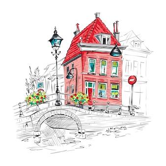 美しい家々とデルフトの風光明媚な街の景色
