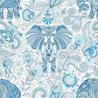 Бесшовный фон с синим индийским слоном