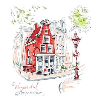 Вид на город амстердам дом и фонарь