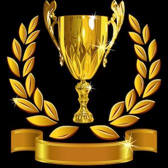Набор победившего успеха золотой кубок, лавровый венок и блестящая лента
