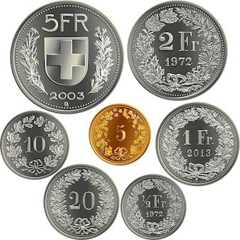 Набор монет швейцарских денег франков