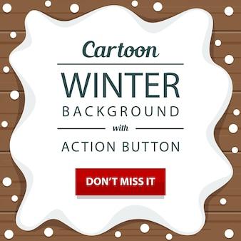 冬、雪、木製、アクション、ボタン、バナー、テンプレート