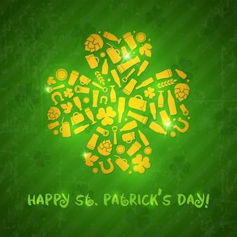 聖パトリックの日の背景。ビール瓶、マグカップ、グラス、食材、パトリックの日のシンボルで構成されるシャムロックの形。