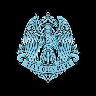 青い天使の翼の戦士の古典的なヴィンテージのイラスト